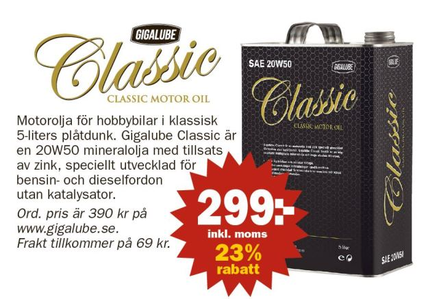 Prenumeranter på Albinsson & Sjöberg-tidningar får rabatt på Gigalube Classic