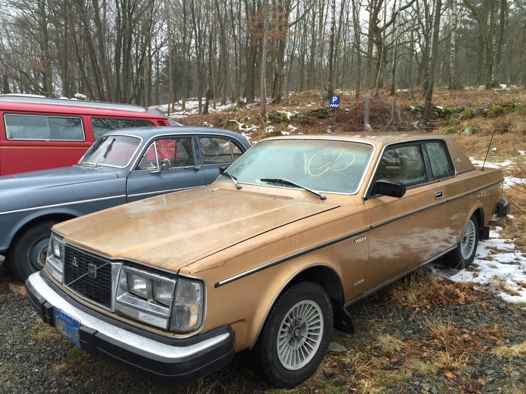 Två guldfärgade Volvocoupéer från 1981 och 1982, med turbomotorer